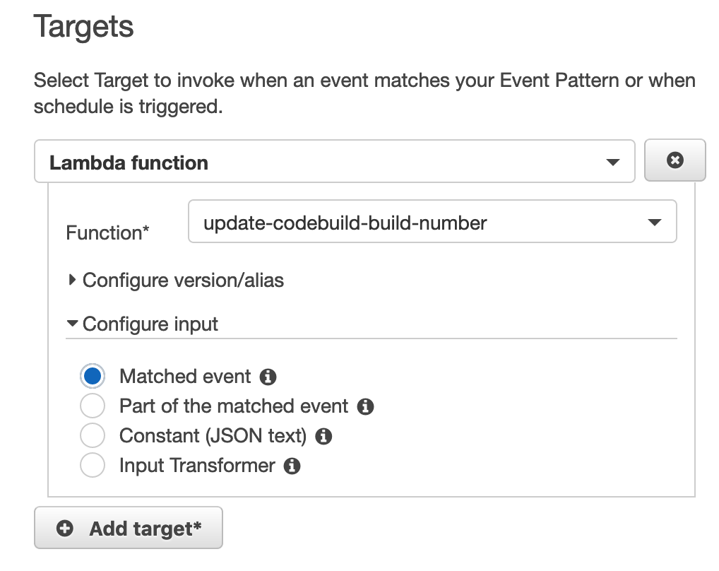 AWS – CodeBuild: Add an incremental build number – Service